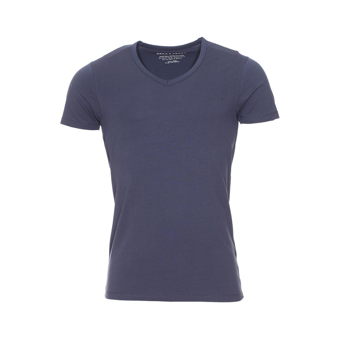 Tee-shirt col v jack&jones en coton stretch bleu marine