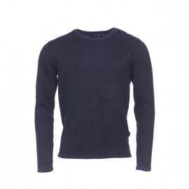 Pull col rond boutonné Core by Jack & Jones en coton noir chiné de bleu marine