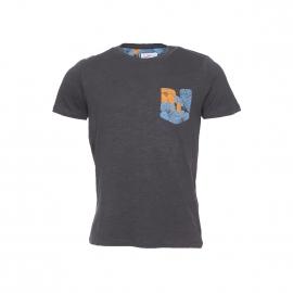 Tee-shirt Jack&Jones en coton flammé anthracite à poche motifs tropicaux