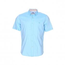 Chemise manches courtes Wesley en pinpoint turquoise satiné à opposition motifs tongs