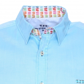 Chemise manches courtes Wesley en pinpoint turquoise satiné à opposition motifs tongs