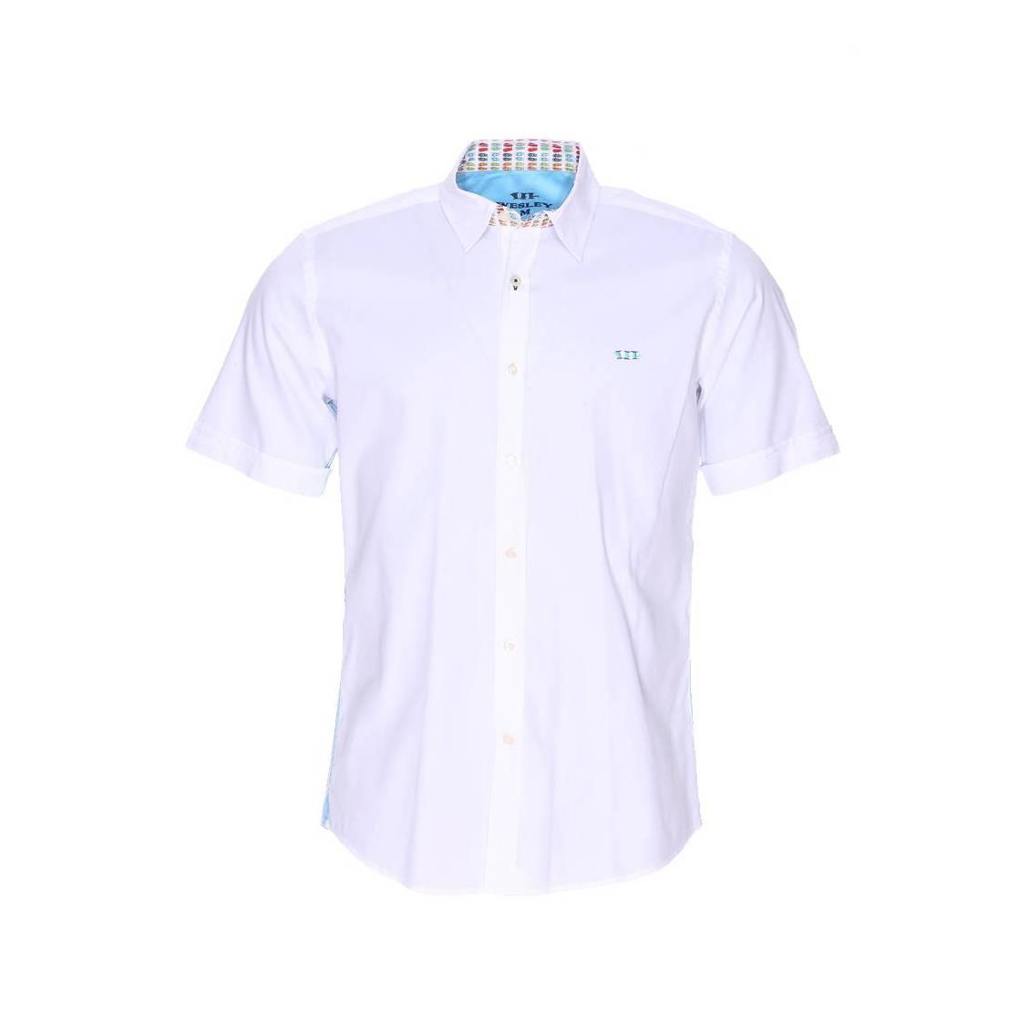 Chemise manches courtes  en pinpoint blanc à opposition motifs tongs