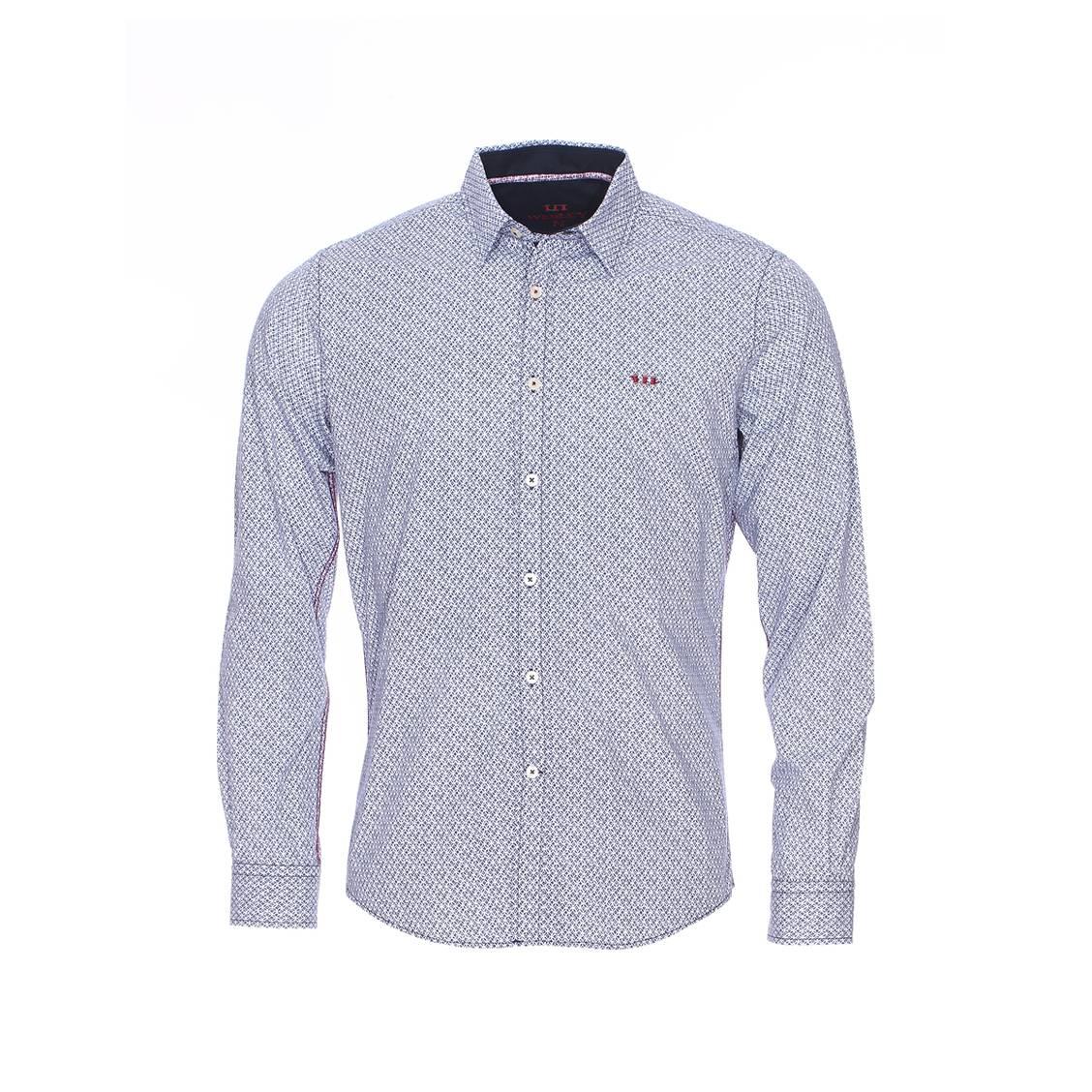 Chemise  en coton blanc à motifs bleu marine