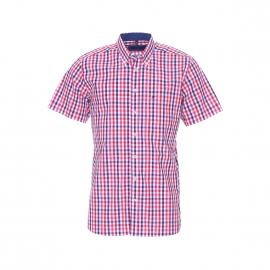 Chemise manches courtes Jean Chatel en coton à carreaux rouges, roses, blancs et bleus
