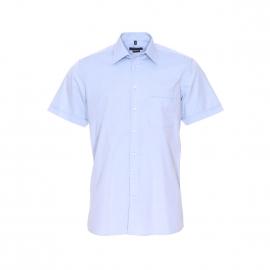 Chemise manches courtes Jean Chatel en coton fil à fil bleu ciel