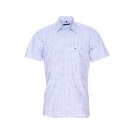 Chemise manches courtes Jean Chatel en coton bleu ciel à petits carreaux et pois bleus