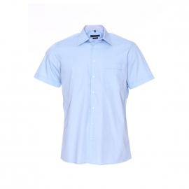 Chemise manches courtes Jean Chatel bleu ciel à opposition à carreaux, Repassage facile