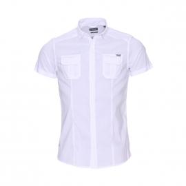 Chemise cintrée manches courtes Kaporal blanche floquée au dos
