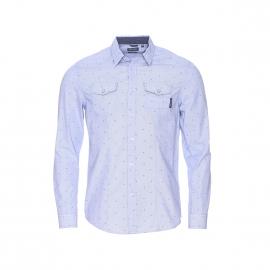 Chemise cintrée Kaporal à fines rayures bleues et blanches et à motifs bleu marine