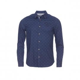 Chemise cintrée Kaporal bleu nuit à petits tirets blancs