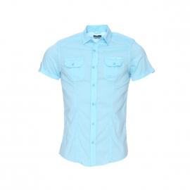 Chemise cintrée manches courtes Kaporal turquoise floquée au dos