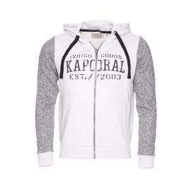 Sweat zippé à capuche Kaporal effet bi matière gris