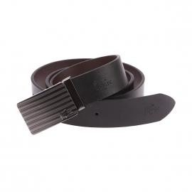 Coffret ceinture Lacoste ajustable en cuir noir réversible à boucles chromées interchangeables