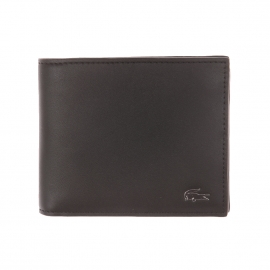Portefeuille Lacoste en cuir noir foncé à porte-monnaie
