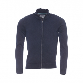 Gilet zippé MCS en coton maille piquée bleu nuit