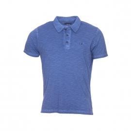 Polo MCS en coton flammé bleu indigo