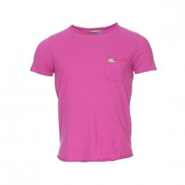 Tee-shirt col rond MCS en coton flammé rose fuschia à poche poitrine
