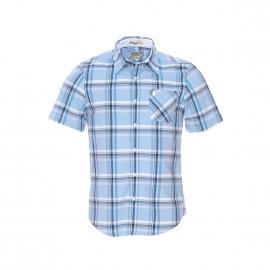 Chemise cintrée manches courtes MCS en coton à carreaux blancs et bleus