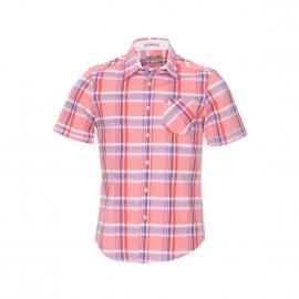 Chemise cintrée manches courtes MCS en coton à carreaux corail, blancs et bleus