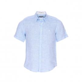 Chemise manches courtes MCS en lin bleu ciel fil à fil