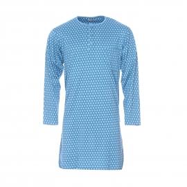 Liquette Mariner en coton bleu turquoise à motifs anthracite et bleus