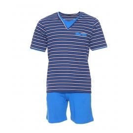 Pyjama court Mariner en jersey de coton : tee-shirt col V à rayures et short uni bleu roi