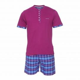 Pyjama court Mariner en jersey de coton : tee-shirt mauve à col tunisien et short à carreaux