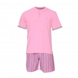 Pyjama court Mariner en jersey de coton : tee-shirt rose à col tunisien et short à rayures