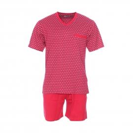 Pyjama court Mariner en coton : tee-shirt manches courtes col V rouge à motifs, short rouge