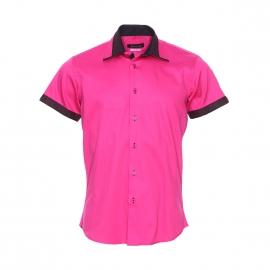 Chemise cintrée à manches courtes Méadrine rose fushia, empiècements noirs à petits pois fushia