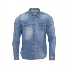 Chemise en jean Carey Meltin'Pot bleu patiné et usé, coupe droite