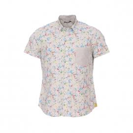 Chemise manches courtes Charlys Meltin'Pot en coton beige à imprimé fleurs
