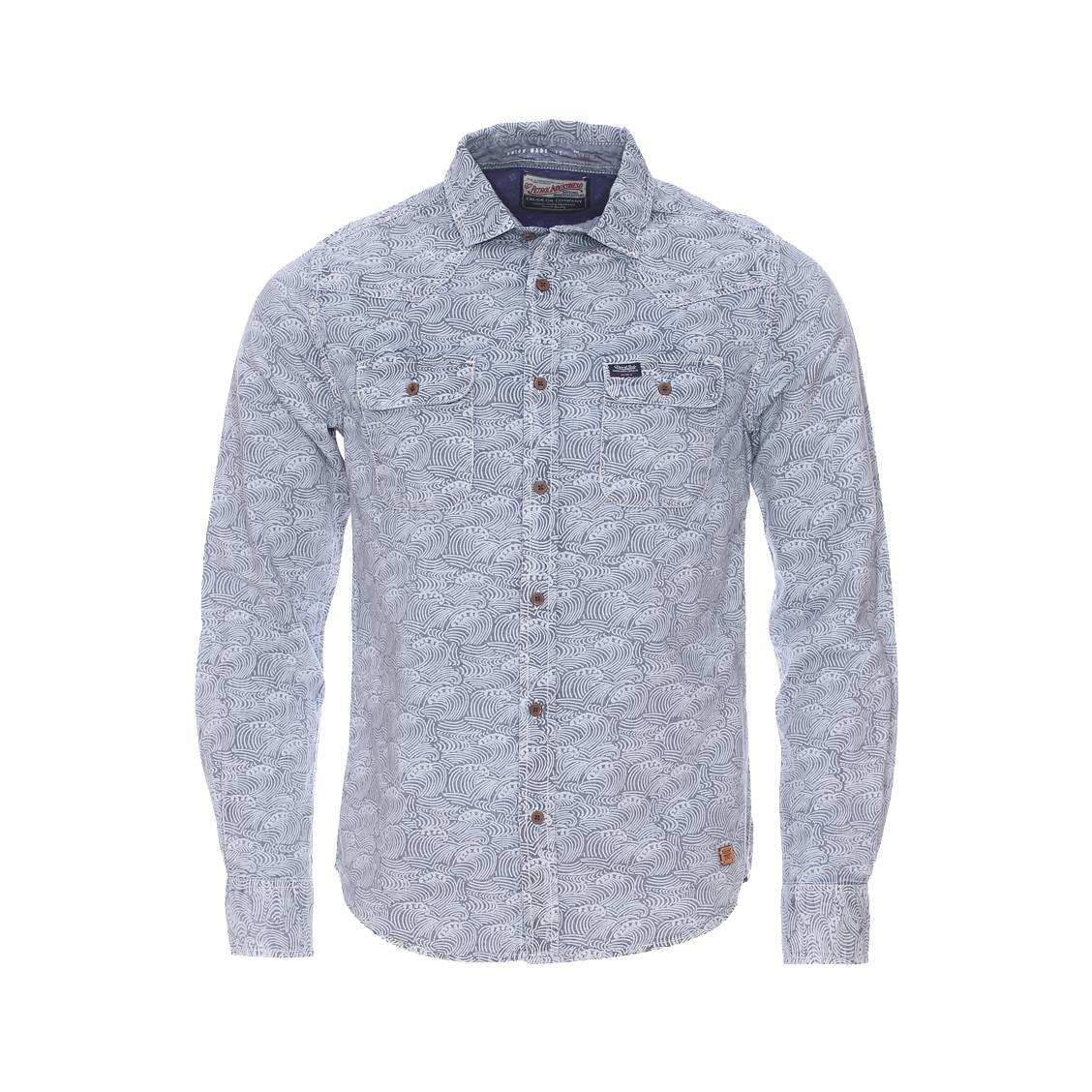 Chemise  en coton bleu indigo délavé à motifs vagues