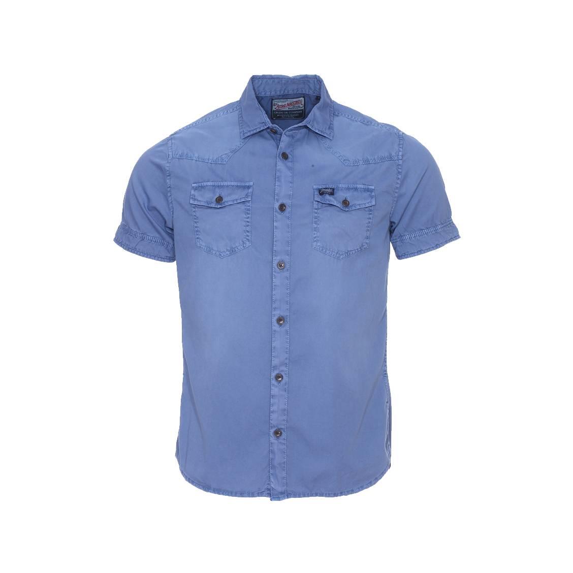 Chemise manches courtes  bleu pétrole effet vintage