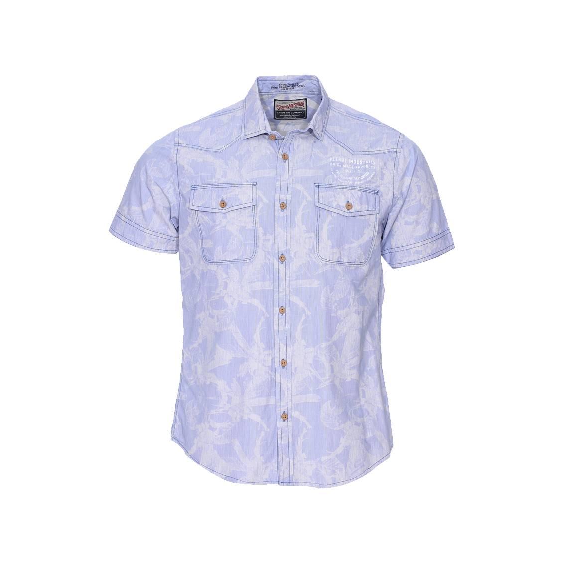 Chemise manches courtes  bleu ciel à motifs tropicaux