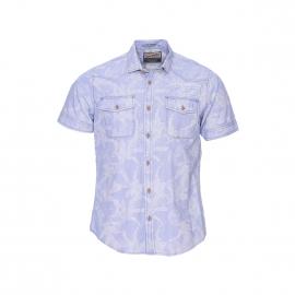 Chemise manches courtes Petrol Industries bleu ciel à motifs tropicaux