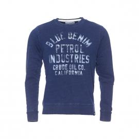 Sweat col rond Petrol Industries bleu jean vintage imprimé