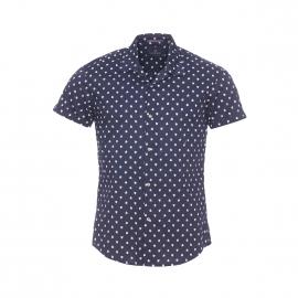 Chemise manches courtes Scotch&Soda en coton bleu marine à motifs pastèques blancs