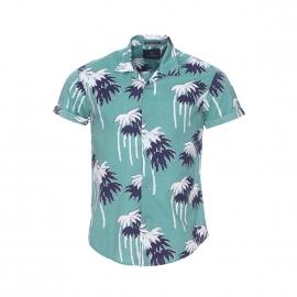Chemise manches courtes Scotch&Soda en coton vert pâle à motifs palmiers blancs et bleu marine