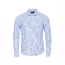 Chemise ajustée Scotch&Soda à fines rayures bleues et blanches et à motifs bleu marine