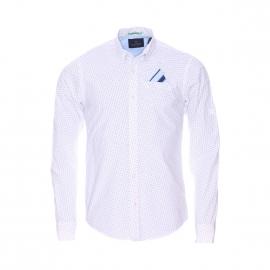 Chemise ajustée Scotch&Soda en coton blanc à motifs bleus, pochette poche poitrine integrée
