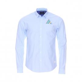 Chemise ajustée Scotch&Soda en fil à fil bleu ciel, à pochette poche poitrine integrée