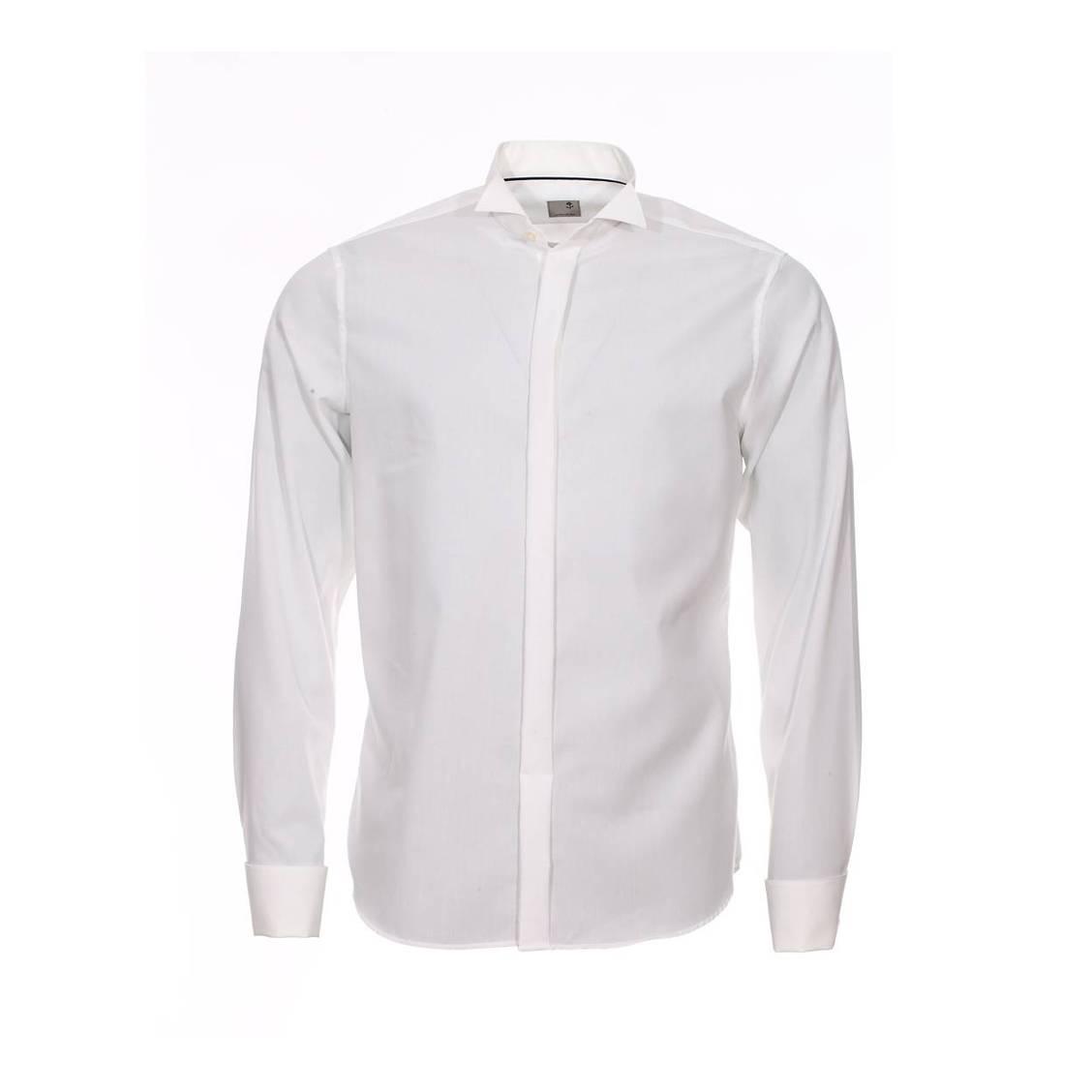 chemise droite et col cass seidensticker en popeline de coton cru sans repassage rue des. Black Bedroom Furniture Sets. Home Design Ideas