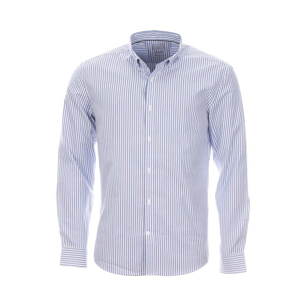 Chemise homme  à rayures verticales bleu clair et blanches