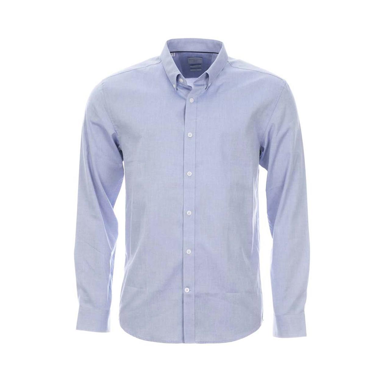 Chemise homme  bleu clair à tissage fil à fil et col américain