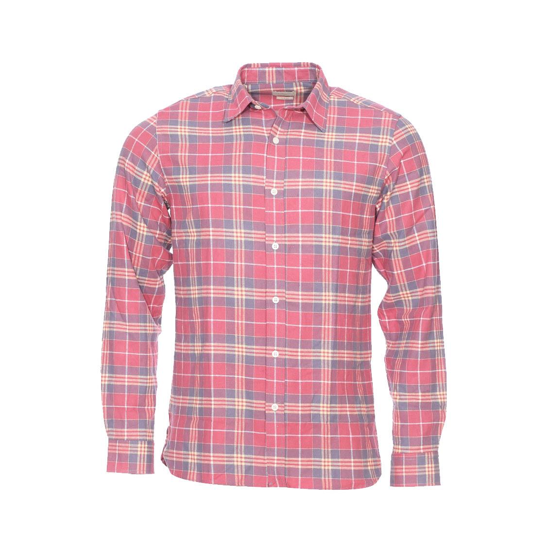 Chemise cintrée  en jersey de coton doux à carreaux rose pâle, beiges et gris