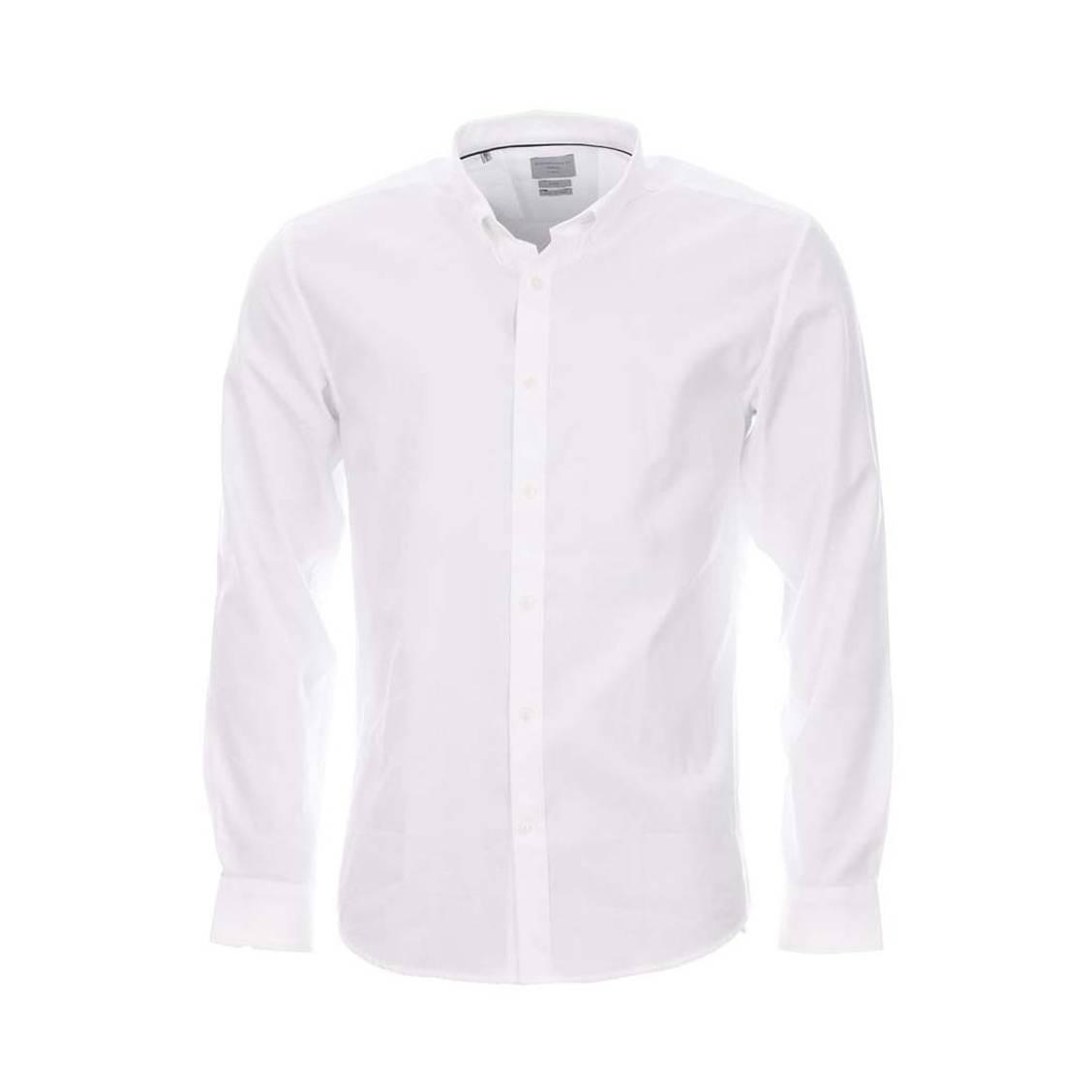 Chemise  blanche à tissage fil à fil et col américain