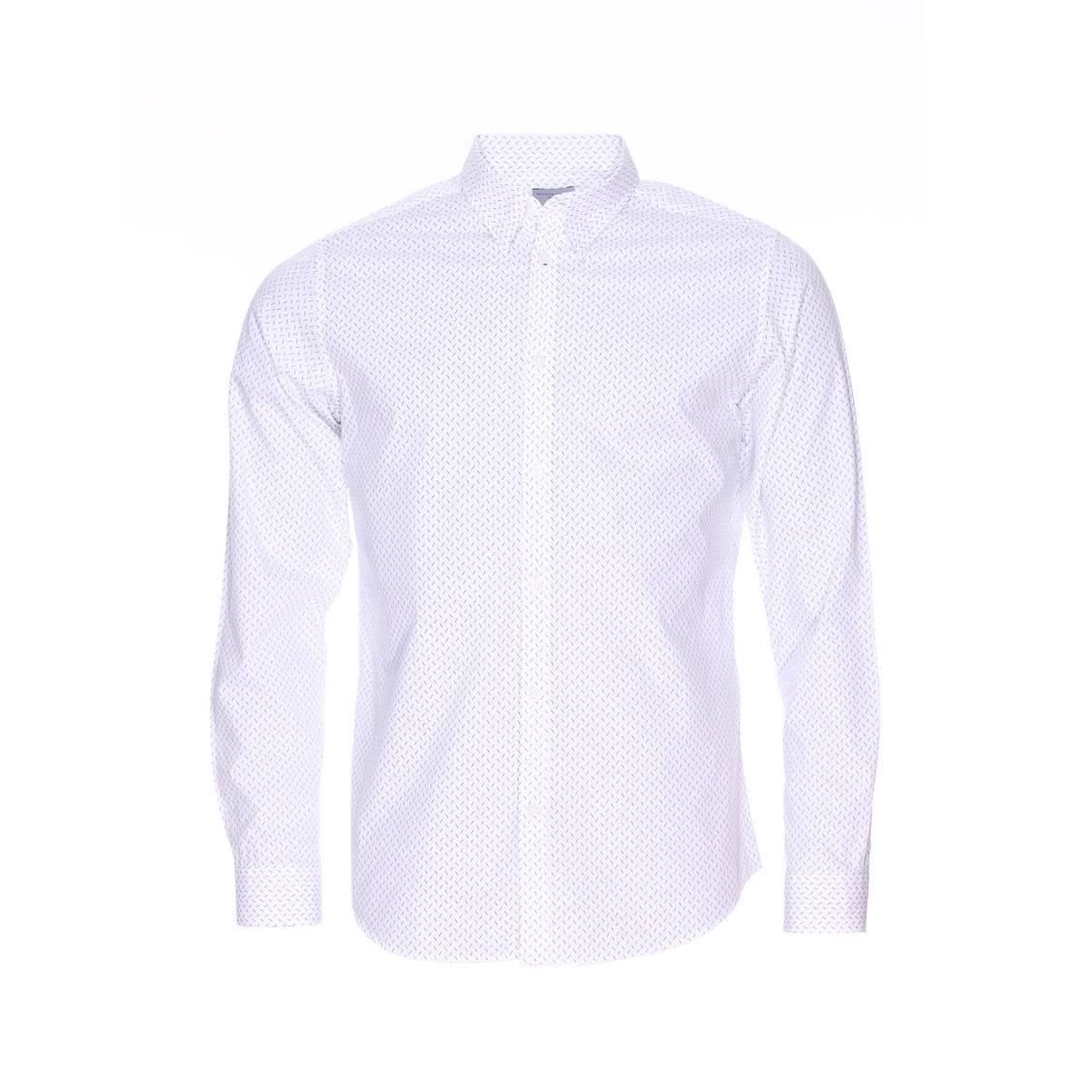 Chemise ajustée  en coton blanc à pointillés noirs