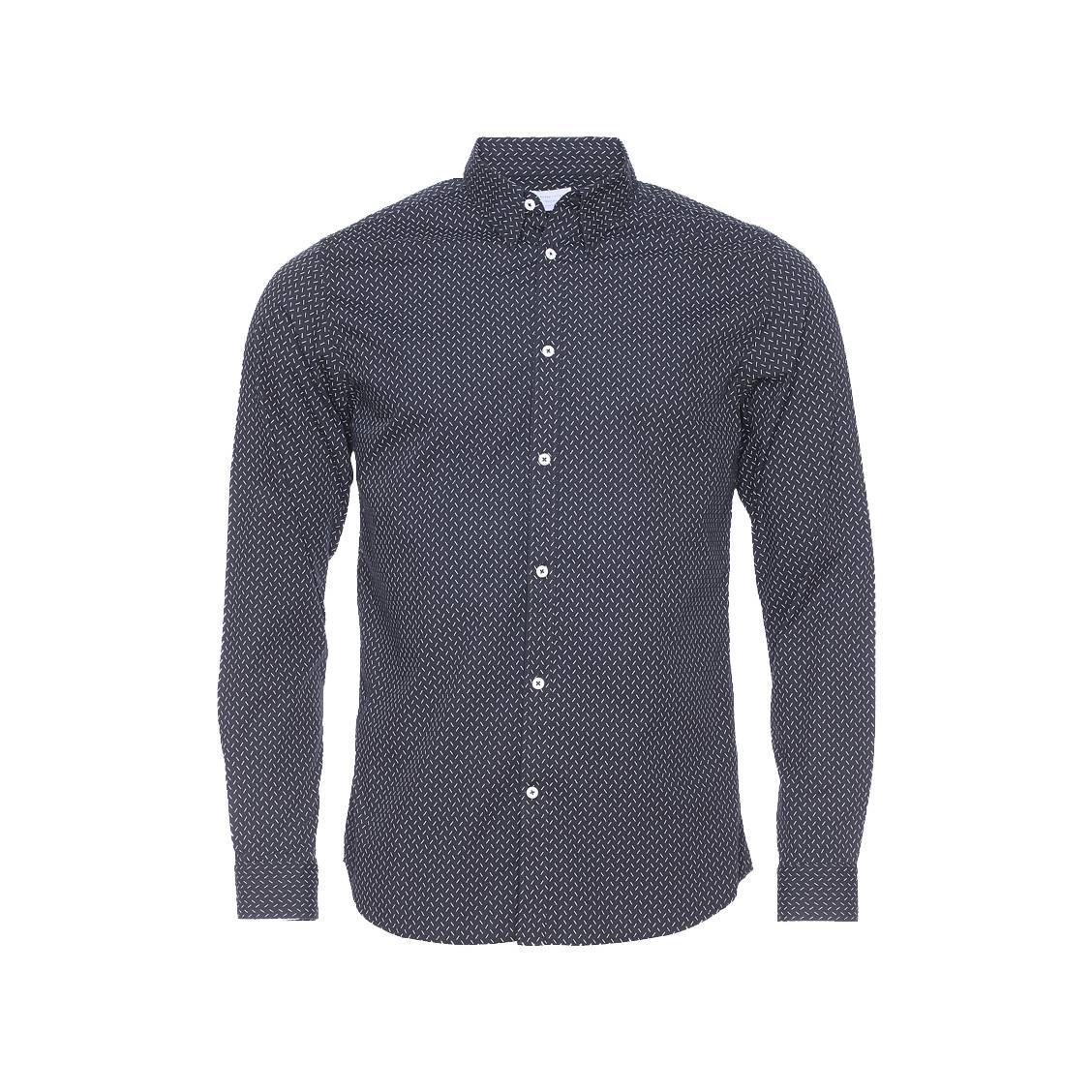 Chemise ajustée  en coton noir à pointillés blancs