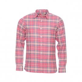 Chemise cintrée Selected en jersey de coton doux à carreaux rose pâle, beiges et gris